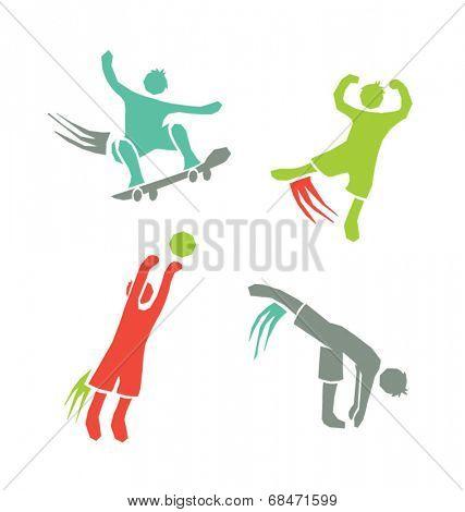 active sports boys icons vector set 1