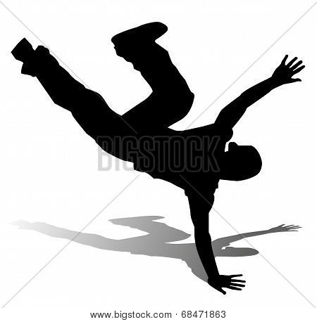 silhouette of hip-hop dancer