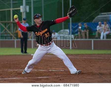 Belgian pitcher Jan Zelenka in match with Czech Republic