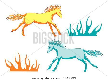 Yellow and blue fire horses and flame shapes