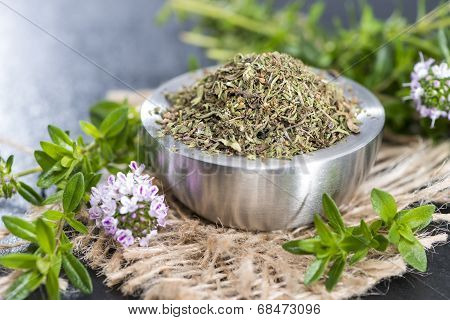 Dried Winter Savory In A Bowl