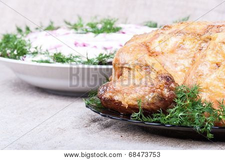Charcoal baked chicken and side dishes