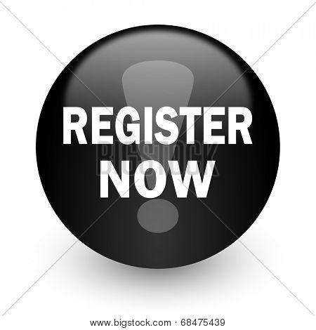 register now black glossy internet icon