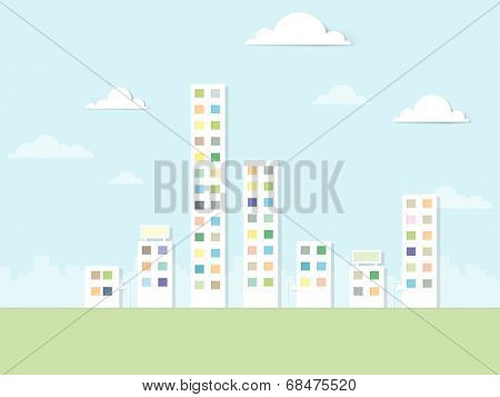 flat paper urban landscape