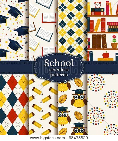 School Seamless Patterns. Vector Set.