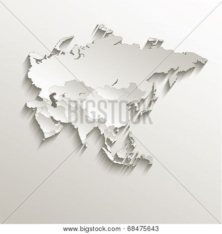 Asia political map card paper 3D natural raster individual states separate