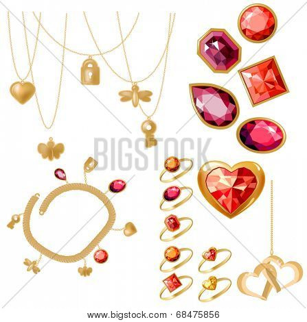 Jewelery set with rings, gems and bracelet