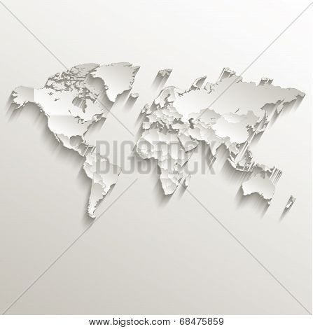 World political map card paper 3D natural raster individual states separate