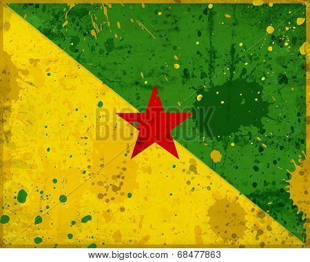 Grunge French Guiana Flag With Stains