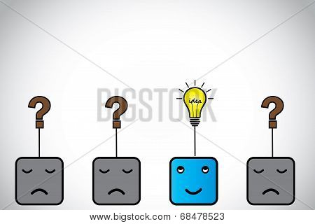 Happy Young Blue Alert Smart Professional Person With Idea Light Bulb & Sad Ones With Question Mark