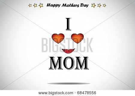 Retro Styled Text I Love Mom Red Love Heart Abstract Mothers Day Illustration Art.