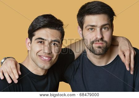 Portrait of a young male friends with arms around over colored background