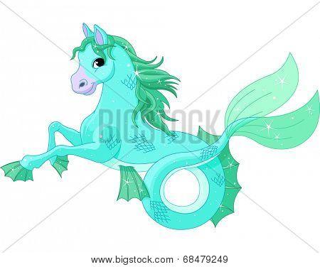 Illustration of mythological sea horse.