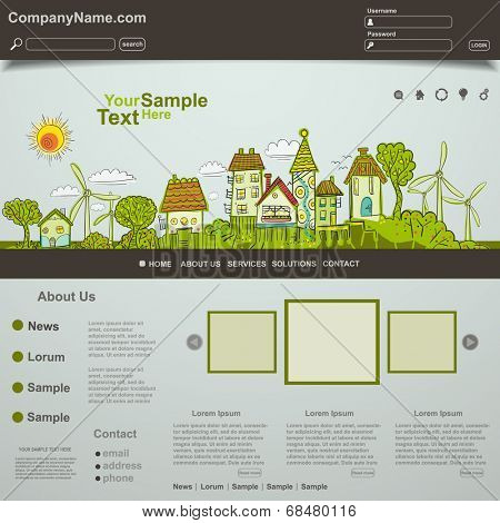 Eco website template design, vector
