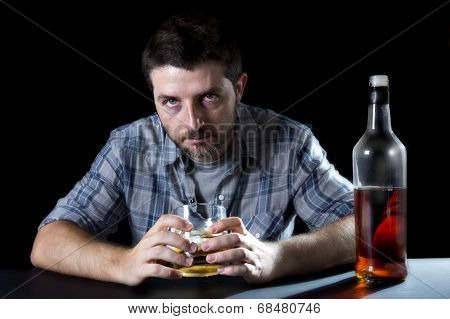 Alcoholic Addict Man Drunk With Whiskey Glass In Alcoholism Concept