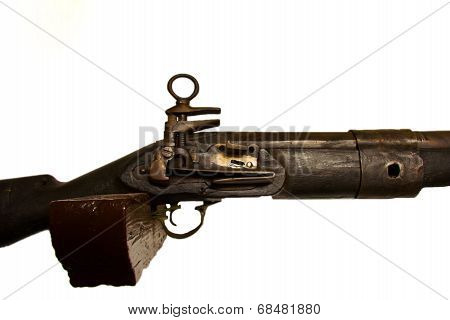 Close Up Old Wooden Gun Isolated