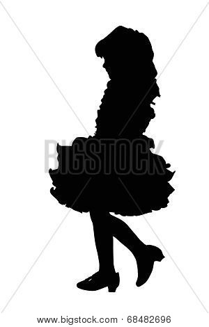 Silhouette Of Cute Little Girl At Beauty Pageant