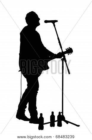 Male Vocalist With Guitar Silhouette
