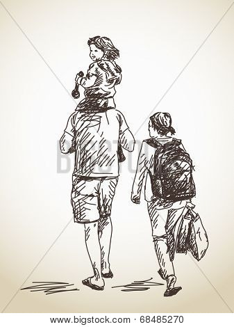 Family with child, Vector sketch, Hand drawn illustration