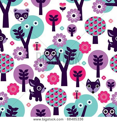 Seamless girls violet woodland animals owl tree and fox flowers background pattern in vector