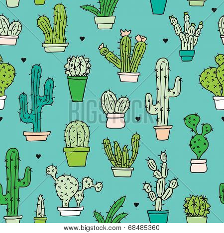Seamless hand drawn doodle illustration cacti background pattern in vector
