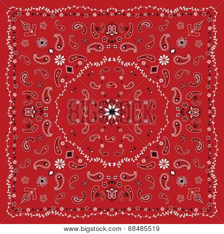 Red Paisley and Vine Bandana