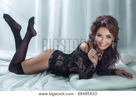 Beautiful Sexy Lady Posing In Bed