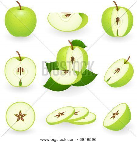 Icon Set Green Apple