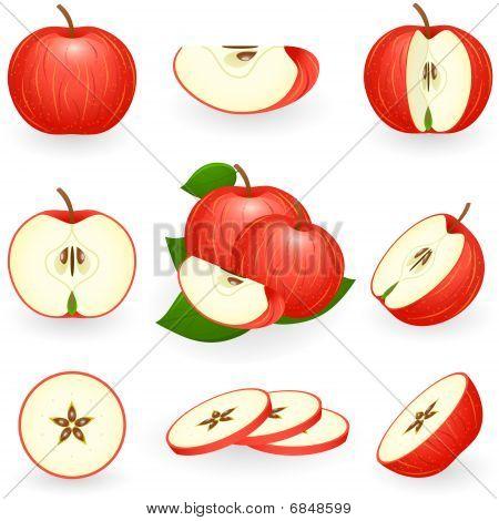 Icon Set Red Apple