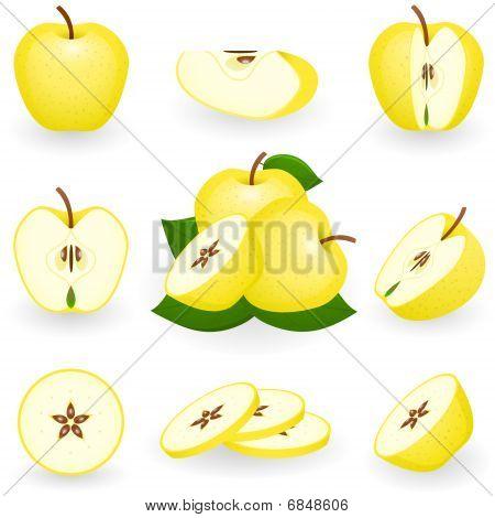 Icon Set Golden Apple