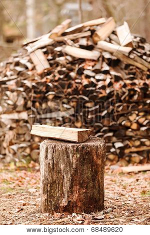firewood in the garden