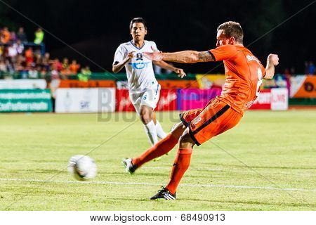 Sisaket Thailand-july 13: Brent Mcgrath Of Sisaket Fc. Shooting The Ball During Thai Premier League