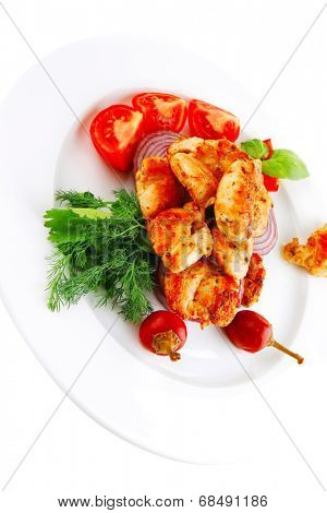 image of chicken brisket chunks on vegetables