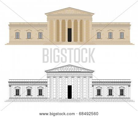 Classical Palace Vector Illustration. Detailed graphic of classical palace with columns. Color and black and white version on different layers