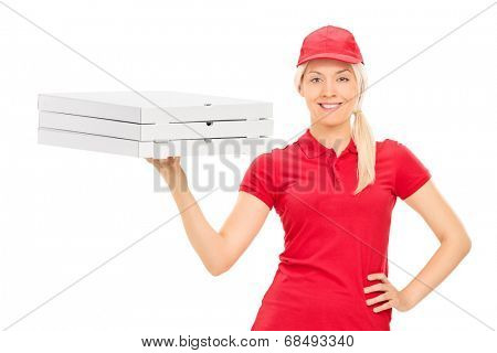 Pizza delivery girl holding boxes isolated on white background