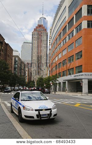 NYPD car providing security in World Trade Center area of Manhattan