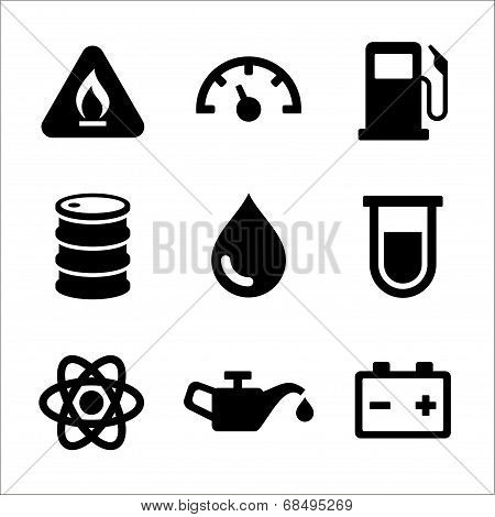 Gasoline Diesel Fuel Service Station Icons Set. Vector
