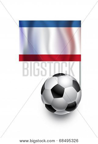 Illustration Of Soccer Balls Or Footballs With  Pennant Flag Of Crimea  Country Team