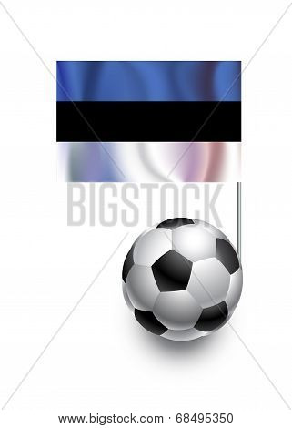 Illustration Of Soccer Balls Or Footballs With  Pennant Flag Of Estonia  Country Team