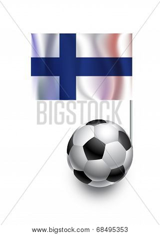Illustration Of Soccer Balls Or Footballs With  Pennant Flag Of Finland  Country Team