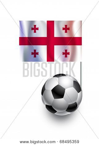 Illustration Of Soccer Balls Or Footballs With  Pennant Flag Of Georgia  Country Team