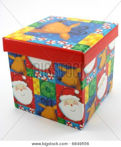 Christmas gift box, decor red on white
