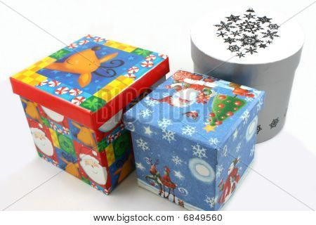 Christmas gift boxes blue, red and white landscape