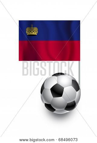 Illustration Of Soccer Balls Or Footballs With  Pennant Flag Of Liechtenstein  Country Team