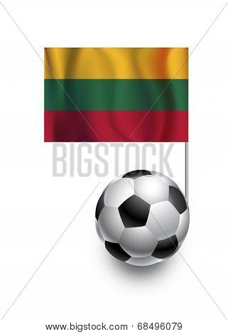 Illustration Of Soccer Balls Or Footballs With  Pennant Flag Of Lithuania  Country Team