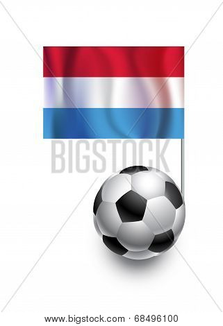 Illustration Of Soccer Balls Or Footballs With  Pennant Flag Of Luxembourg  Country Team