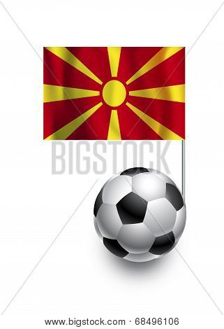 Illustration Of Soccer Balls Or Footballs With  Pennant Flag Of Macedonia  Country Team
