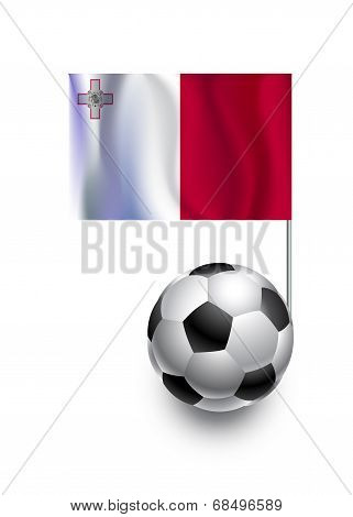 Illustration Of Soccer Balls Or Footballs With  Pennant Flag Of Malta  Country Team