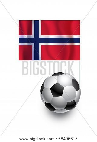 Illustration Of Soccer Balls Or Footballs With  Pennant Flag Of Norway  Country Team