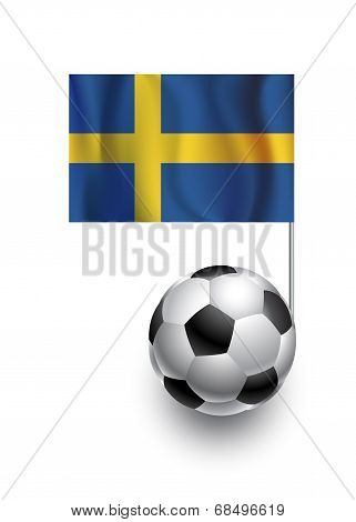 Illustration Of Soccer Balls Or Footballs With  Pennant Flag Of Sweden Country Team